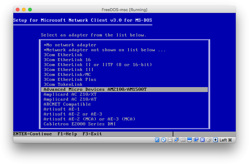 Install FreeDOS 1 2 with MS Client 3 0 | FreeDOS images for